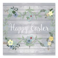 """Happy Easter"" Floral 14-Inch Square Wood Wall Art"