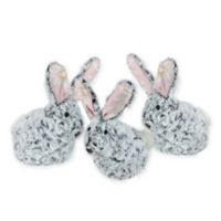 Northlight Floral Easter Rabbits in Grey (Set of 3)
