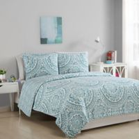 Sophie Reversible Twin Quilt Set in Aqua