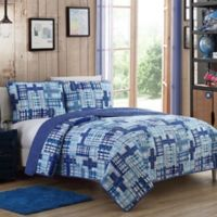 Colin Reversible Twin Quilt Set in Blue