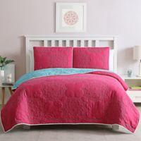 Stacy Reversible Twin Quilt Set in Pink/Aqua