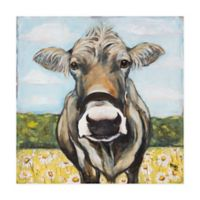 Marmont Hill Spring Cow 32-Inch Squared Canvas Wall Art