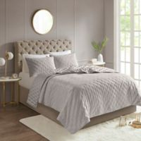 Madison Park Leah Reversible Full/Queen Coverlet Set in Grey