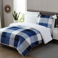 Tanner II Sherpa Reversible Full Comforter Set in Blue
