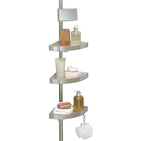 Telescoping corner shower caddy with plastic shelves bed for Caddy corner bed