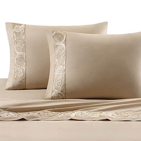 Natori Gobi Palace Queen Flat Sheet in Ivory