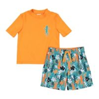 Kiko & Max Size 18M 2-Piece Gecko Rashguard Set in Orange