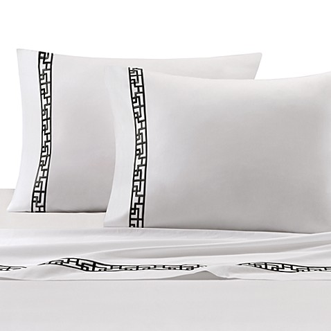 Natori Ming Fretwork Queen Flat Sheet in White/Black