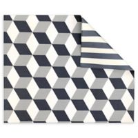 Play with Pieces Reversible Geo and Stripe Playmat in Grey