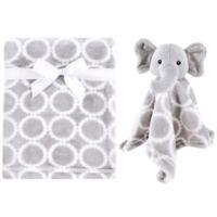 Hudson Baby® Elephant Plush Security Blanket Set in Grey