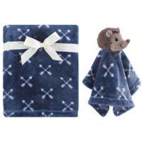 Hudson Baby® Hedgehog Plush Security Blanket Set in Blue