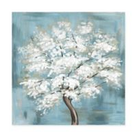 "Marmont Hill Callery Pear Blossoms 12"" Square Canvas Wall Art"