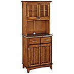 Home Styles Stainless Steel Top Small Buffet/Server with Hutch in Oak
