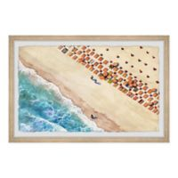 "Marmont Hill 24"" x 16"" Beach Blanket Rows Framed Wall Art"