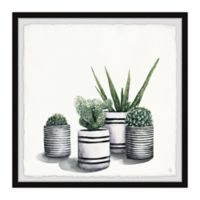 Marmont Hill Lined Pots 12-Inch Squared Framed Wall Art