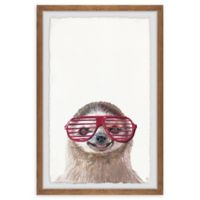 Marmont Hill Hippie Sloth 12-Inch x 18-Inch Framed Wall Art