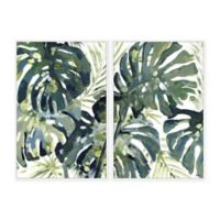 Marmont Hill Watercolor Leaf II 40-Inch x 30-Inch Floater Framed Canvas Wall Art Set