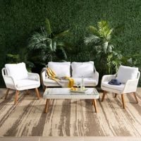 Safavieh Aldric 4-Piece Patio Conversation Set in Natural/White