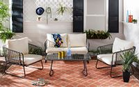 Safavieh Benjin 4-Piece Patio Conversation Set in Grey/White