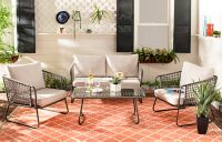 Safavieh Benjin 4-Piece Patio Conversation Set in Grey/Beige