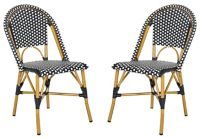 Safavieh Salcha Indoor-Outdoor French Bistro Stacking Side Chairs in Black/White (Set of 2)