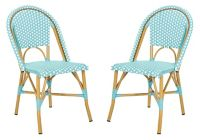 Safavieh Salcha Indoor-Outdoor French Bistro Stacking Side Chairs in Teal/White (Set of 2)