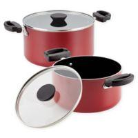 Farberware® Neat Nest™ Nonstick Aluminum 4-Piece Covered Sauce Pot Set in Red