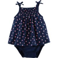 carter's® Size 3M Strawberry Sunsuit in Navy
