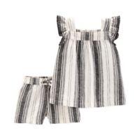 carter's® Newborn 2-Piece Stripe Top and Short Set in Black/White
