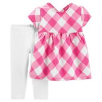carter's® Newborn 2-Piece Gingham Check Shirt and Pant Set in Pink