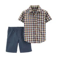 carter's® Size 24M 2-Piece Plaid Shirt and Short Set in Green/Brown/Navy