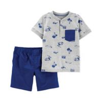 carter's® Size 24M 2-Piece Summer Henley Shirt and Short Set in Grey/Blue