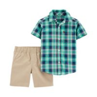 carter's® Size 9M 2-Piece Plaid Shirt and Short Set in Green/Blue