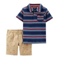 carter's® Newborn 2-Piece Polo Shirt and Shorts Set