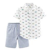 carter's® Size 24M 2-Piece Schiffli Shirt and Shorts Set in White