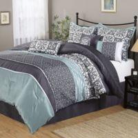 Nanshing Roxanne Queen Comforter Set in Grey/Blue
