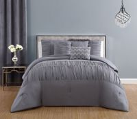 Reina Rhinestone King Comforter Set in Light Grey