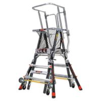 Little Giant® Adjustable Safety Cage 4-Step Ladder in Black