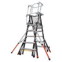 Little Giant® Adjustable Safety Cage 8-Step Ladder in Black