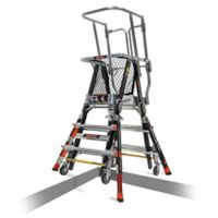 Little Giant® Adjustable Safety Cage™ 4-Step Ladder in Black