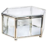 Home Details Vintage Hexagon Beveled Glass Jewelry Box