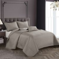 Nanshing Wilshire King Coverlet Set in Taupe