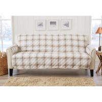 Great Bay Home Plaid Sofa Protector in Taupe