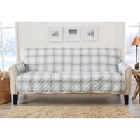 Great Bay Home Plaid Sofa Protector in Grey