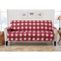 Great Bay Home Plaid Sofa Protector in Red