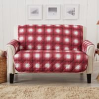 Great Bay Home Plaid Loveseat Protector in Red