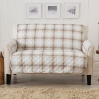 Great Bay Home Plaid Loveseat Protector in Taupe