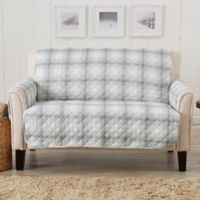 Great Bay Home Plaid Loveseat Protector in Grey