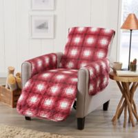 Great Bay Home Plaid Recliner Protector in Red