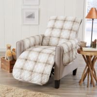 Great Bay Home Plaid Recliner Protector in Taupe